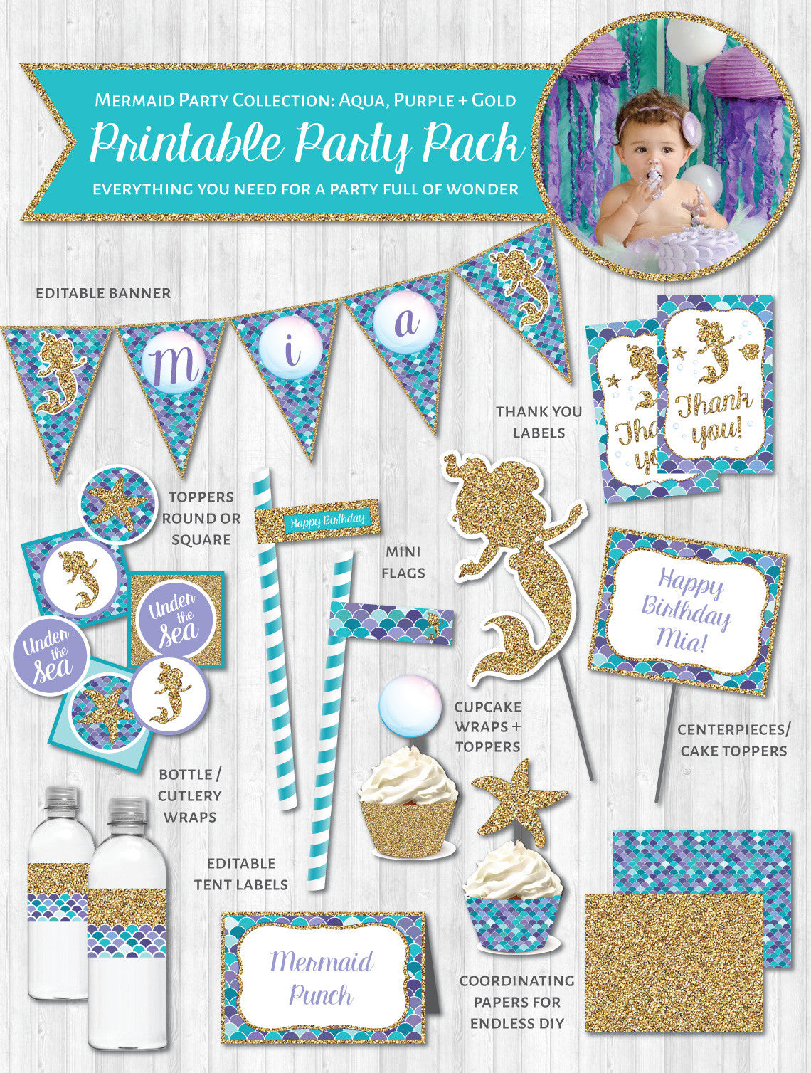 Mermaid Party Printable Decor Pack: Aqua, Purple & Gold Glitter