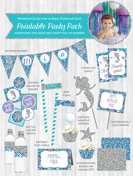 Mermaid Party Printable Decor Pack: Aqua, Purple & Silver Glitter