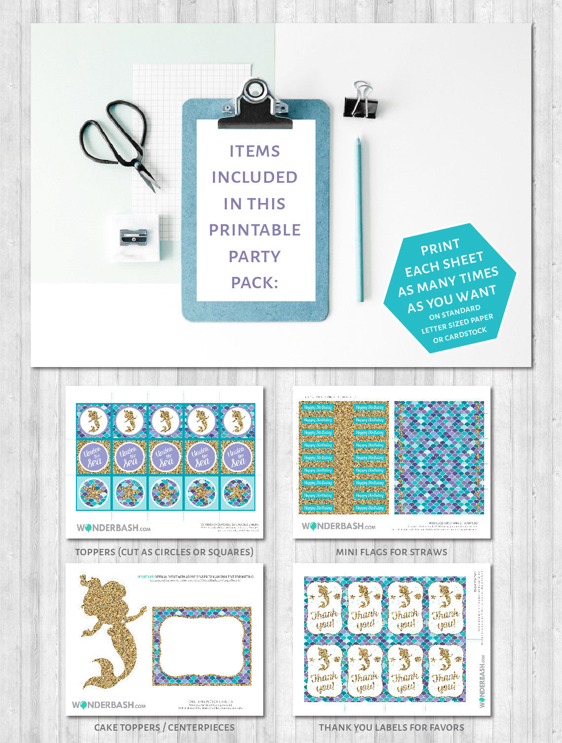 Mermaid Party Printable Decor Pack: What's included