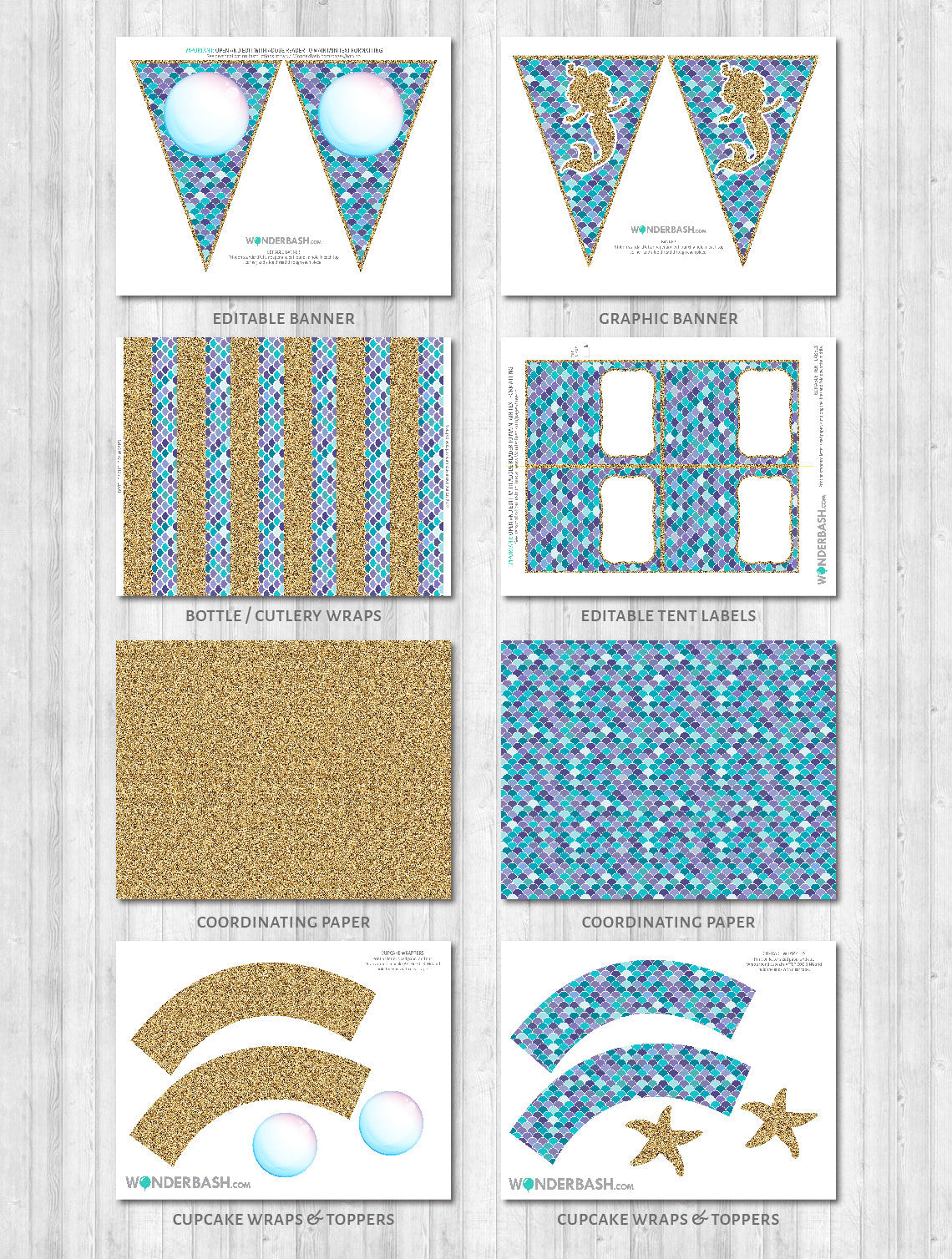 Mermaid Party Printable Decor Pack: Banner, toppers, cupcake wraps, labels