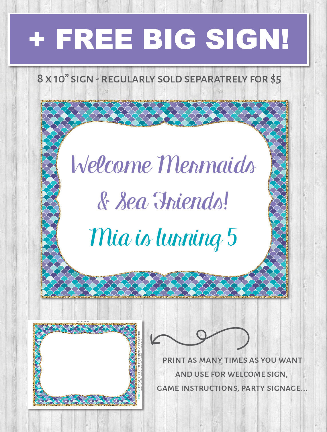 Mermaid Party Printable Decor Pack - Poster welcome sign