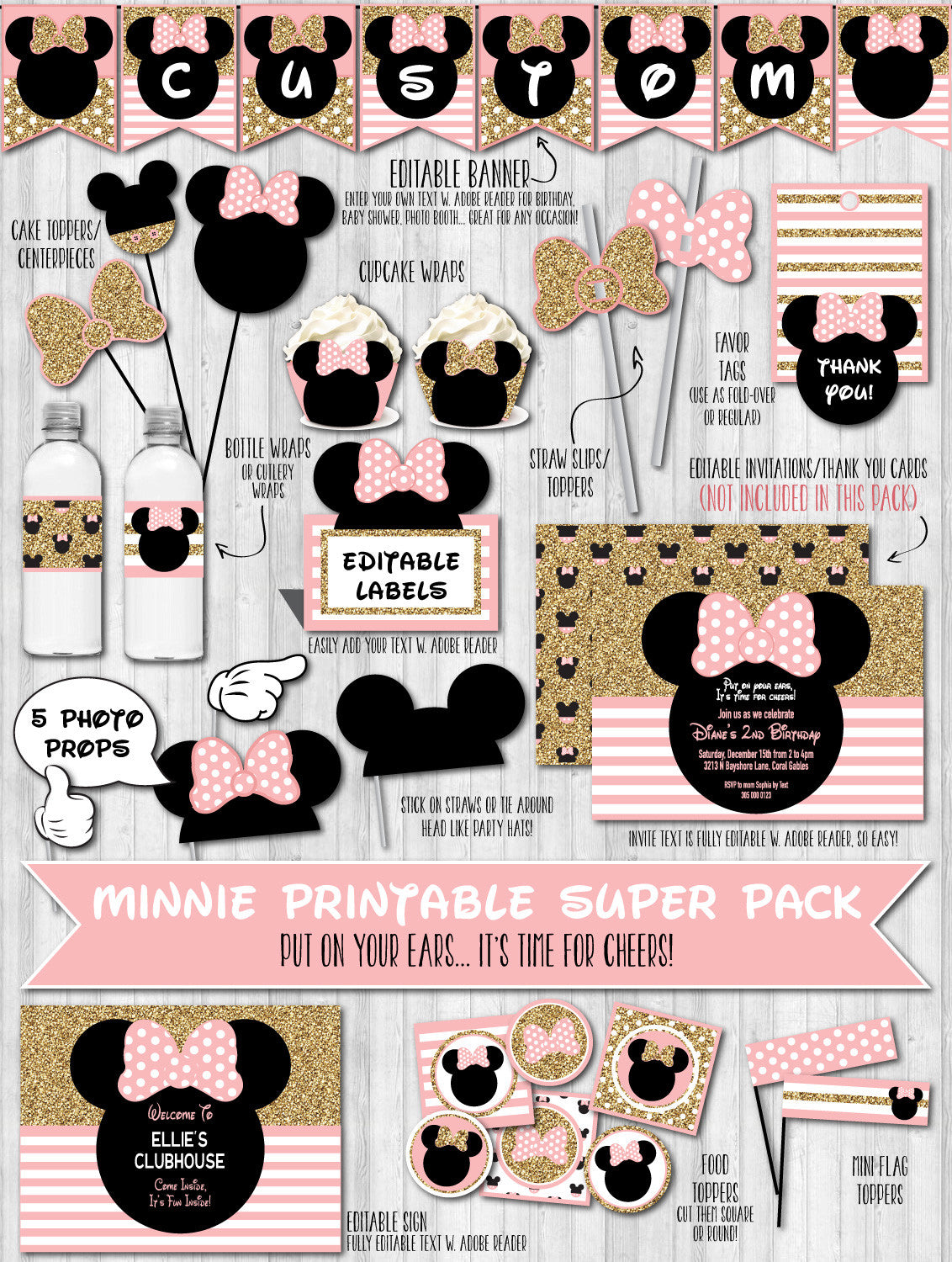 Minnie mouse party decor pack pink blush gold glitter baby shower birthday