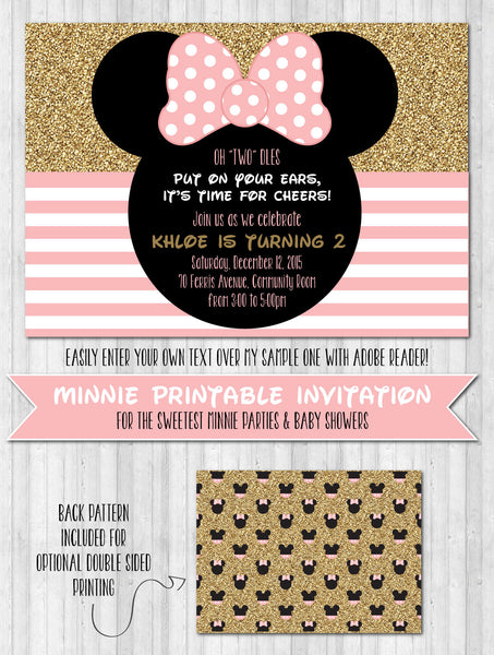 Minnie Party Invitations: Blush pink and gold glitter
