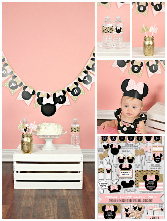 Minnie mouse party decor pack pink blush gold glitter baby shower birthday banner toppers crown
