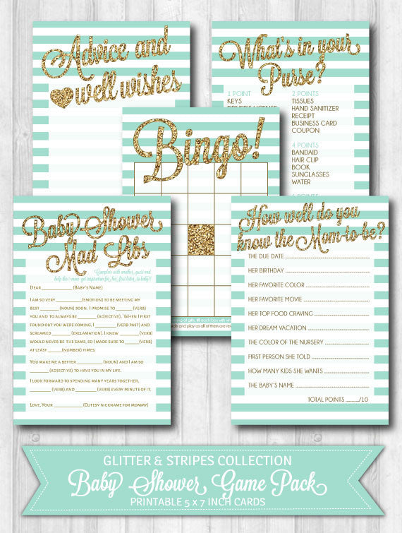 Baby shower games mint gold glitter stripes