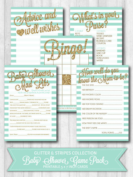Baby Shower Games: Gold Glitter & Mint Stripes