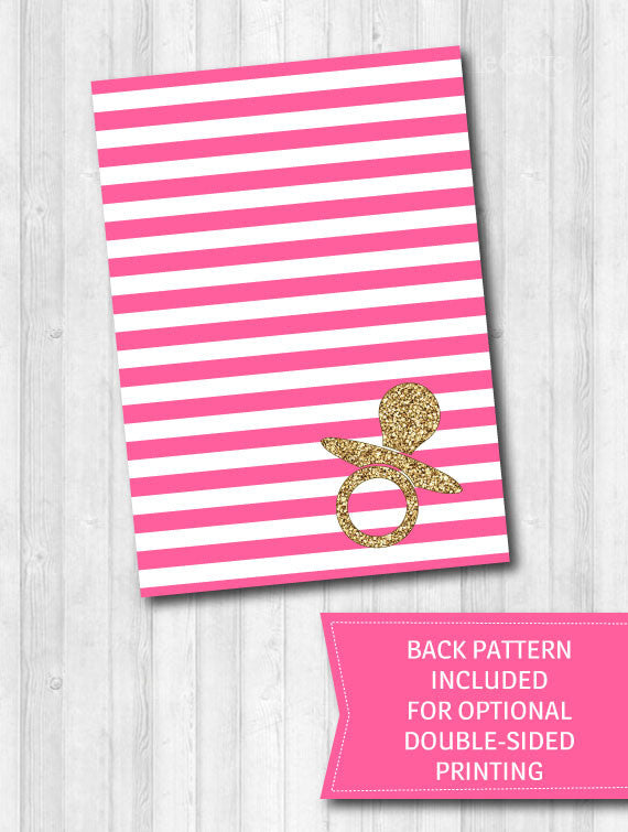 Baby shower games bright pink gold glitter stripes