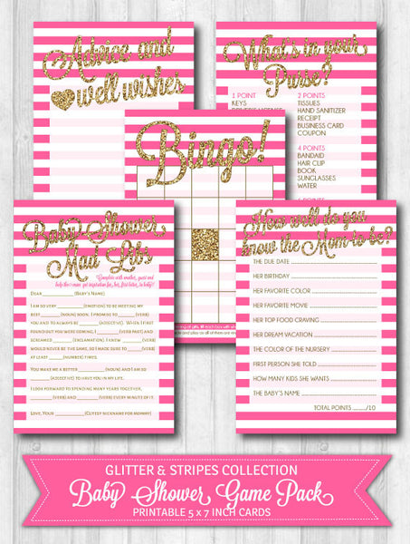 Baby Shower Games: Gold Glitter & Bright Pink Stripes