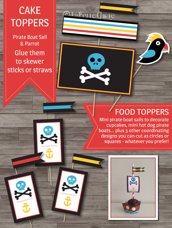 Pirate party printable decor pack cake toppers cupcake boat toppers
