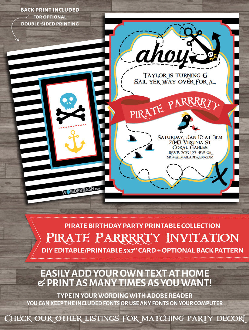 photo regarding Pirate Party Printable titled Pirate Get together Invitation