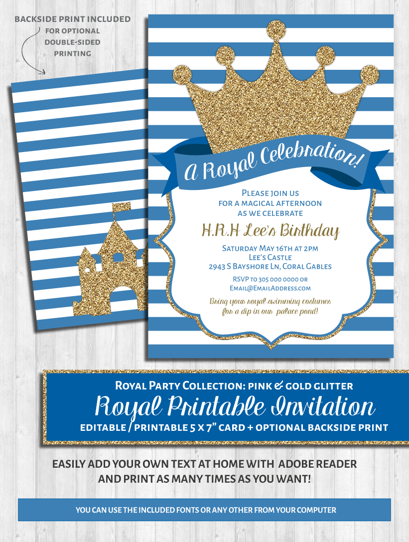Royal Party Invitations: Blue & gold glitter prince / princess party ...