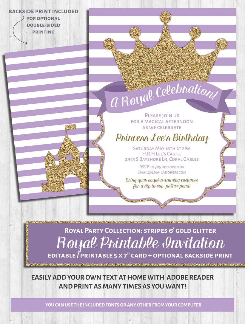 Princess Party Invitations Purple & Gold Glitter
