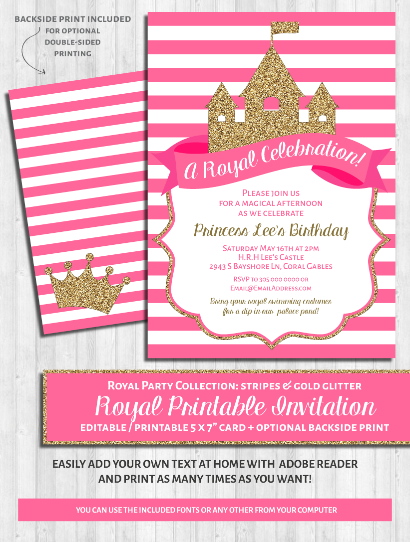 princess party invitations bright pink and gold glitter wonderbash princess party invitations bright pink and gold glitter