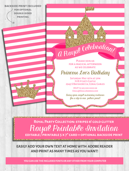 Princess Party Invitations: Bright Pink and gold glitter