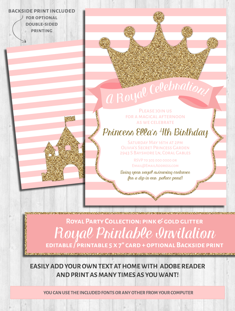 Princess Party Invitation Pink Gold Glitter Printable