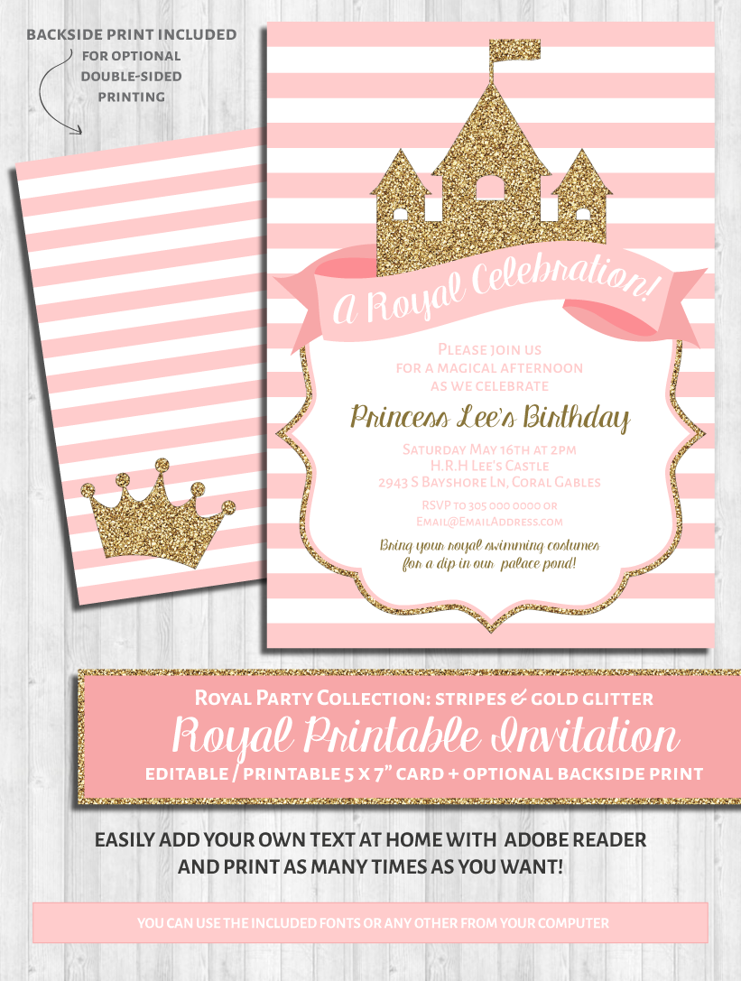 graphic relating to Printable Party Invitations named Princess Celebration Invites: Crimson and gold glitter