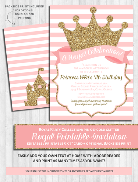 Princess Party Invitations: Pink & Gold