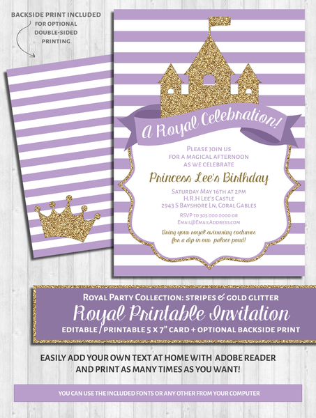 Princess Party Invitations: Purple & gold glitter