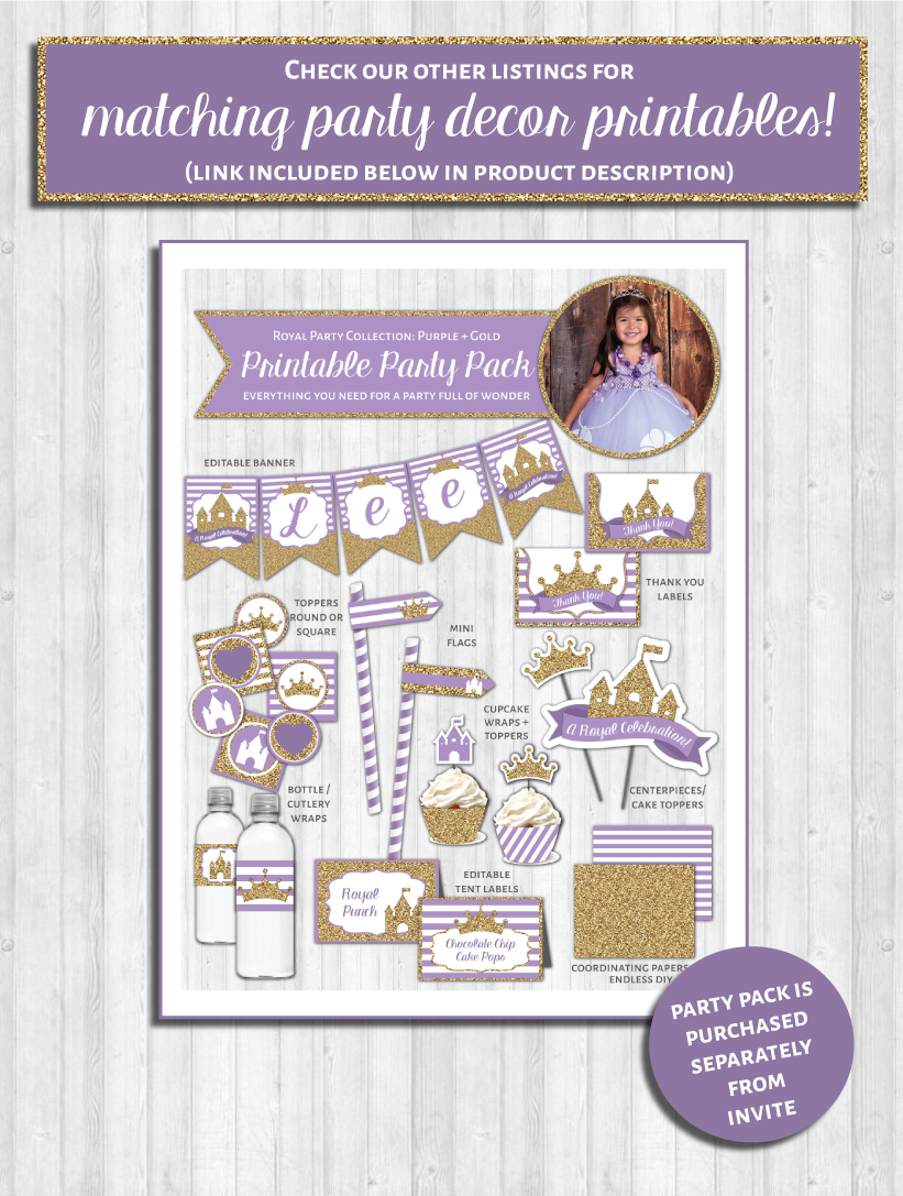 Princess party pack decor purple gold glitter printable