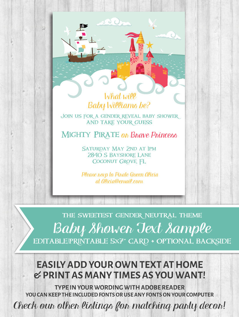 Baby shower gender reveal invitation