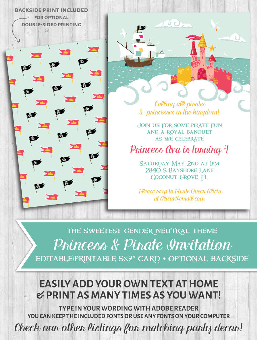 Princess pirate birthday party invitations gender neutral