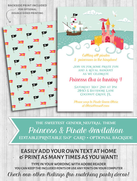 Princess & Pirate Printable Invitation