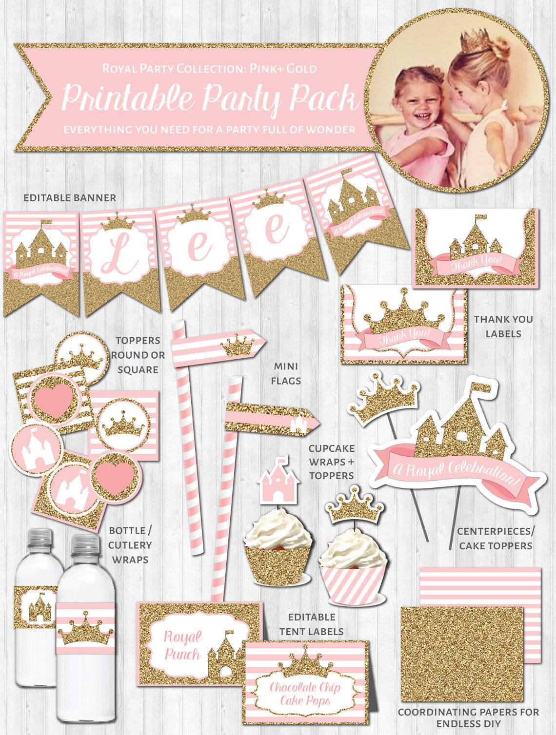 picture relating to Printable Party known as Princess Social gathering Decor: Crimson Gold Glitter