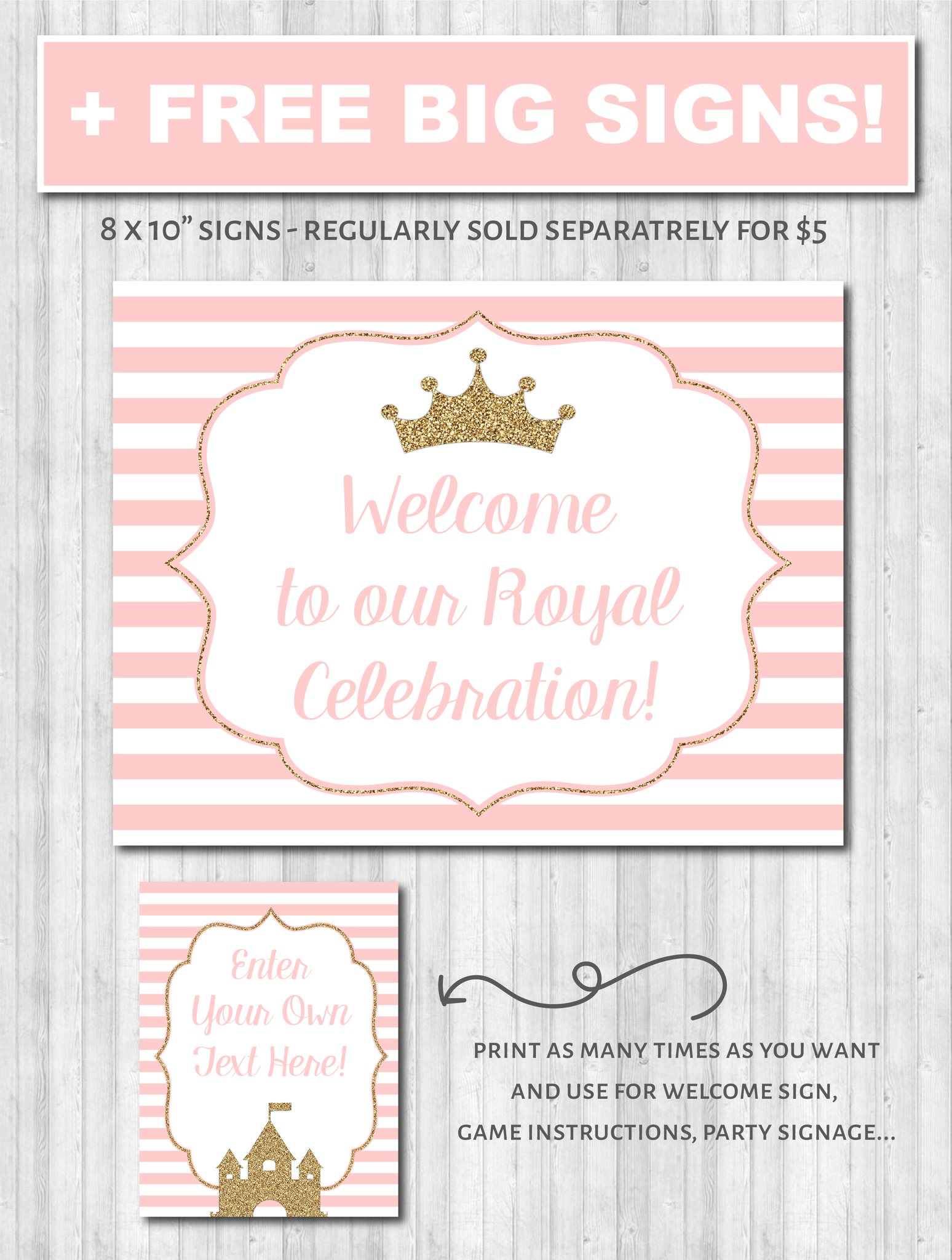 Princess Party decor poster printable wonderbash