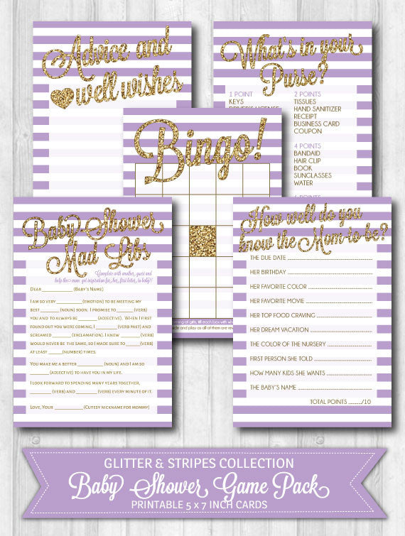 baby shower game activity pack purple stripes gold glitter