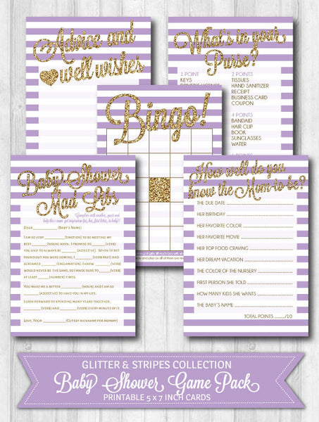 Baby Shower Games: Gold Glitter & Purple Stripes