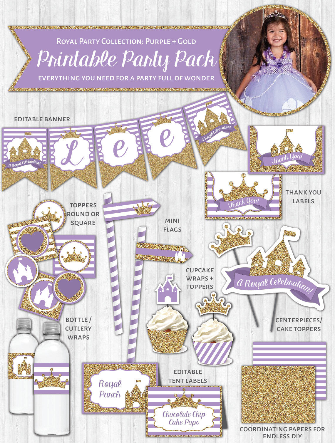 Princess Party Printable Decor Pack: Purple & Gold Glitter