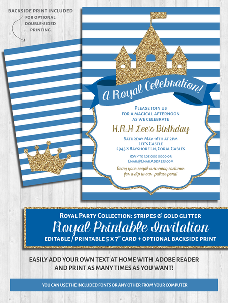 Royal Party Invitations: Blue & gold glitter prince / princess party or baby shower
