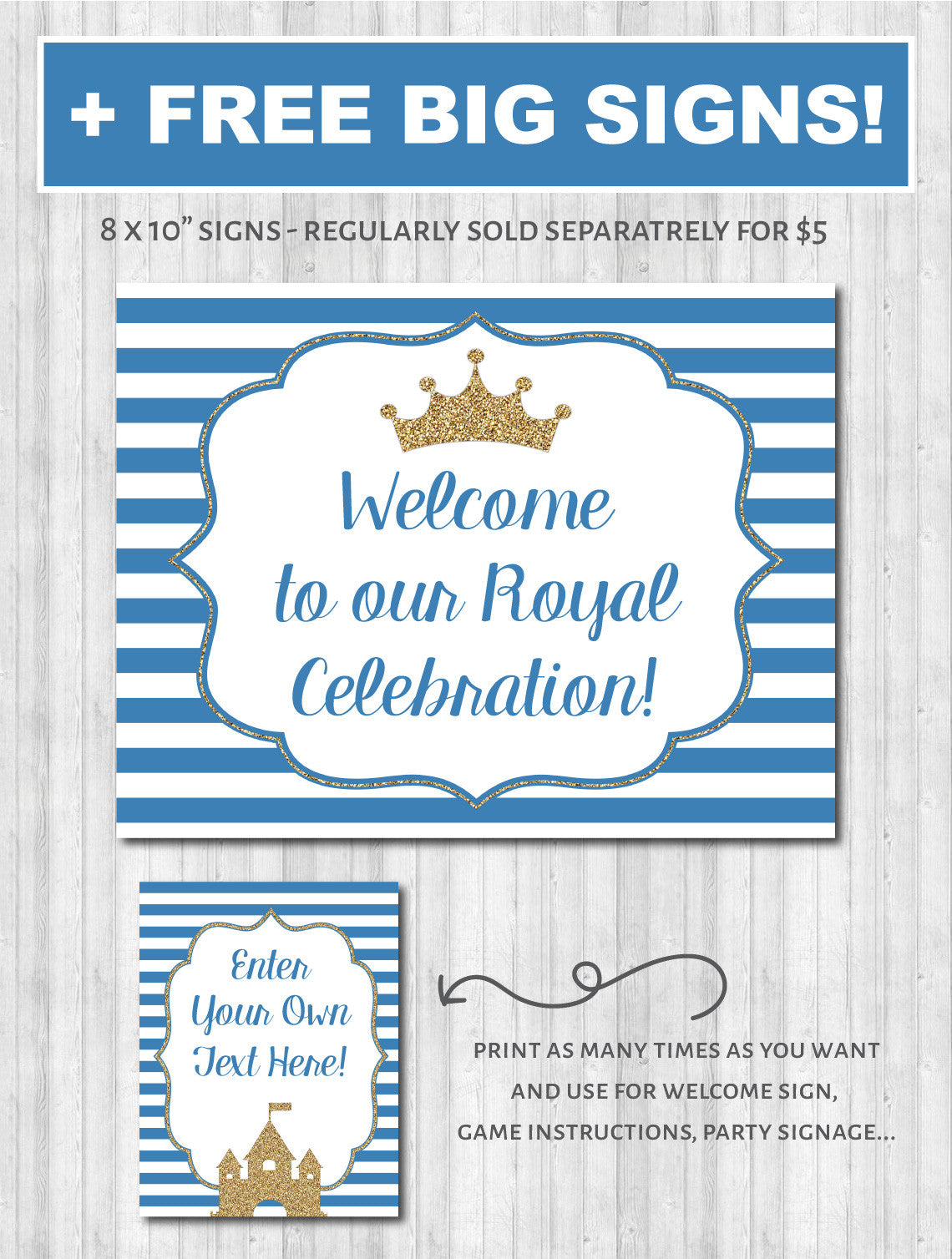 Prince party decor baby shower welcome sign poster