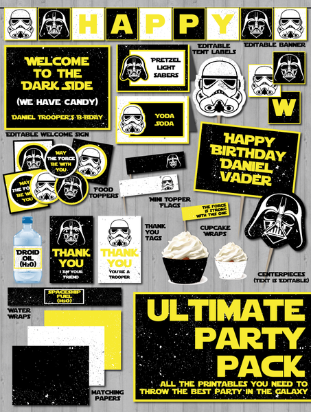 Star wars party decor printable pack wonderbash vader snow trooper