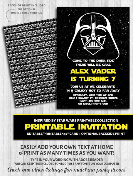 star wars invitation darth vader party printable