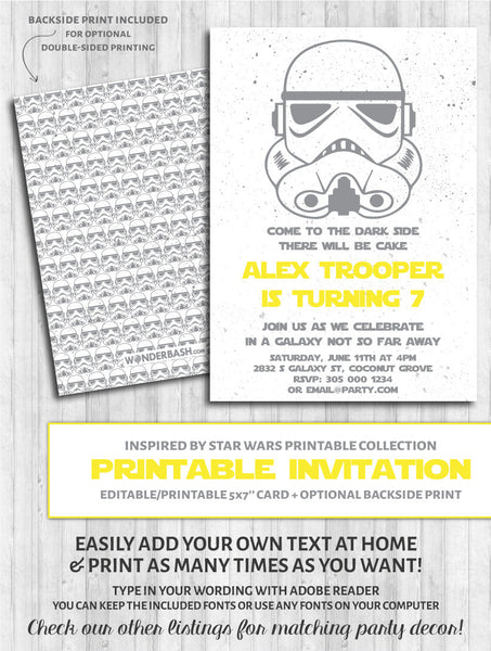 star wars invitation trooper party printables