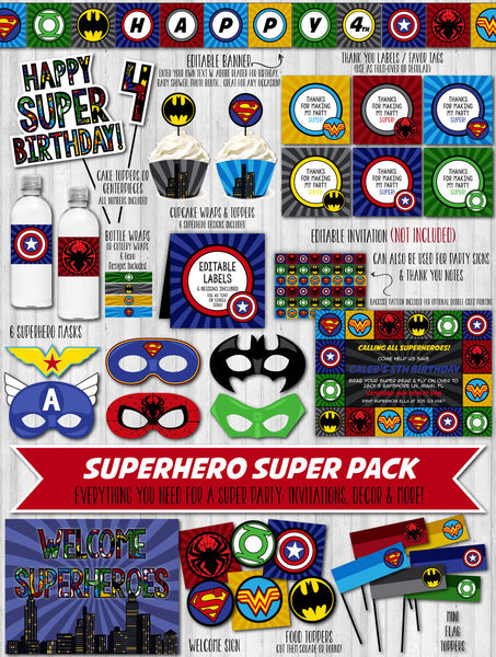 SuperHero Party Decor Pack