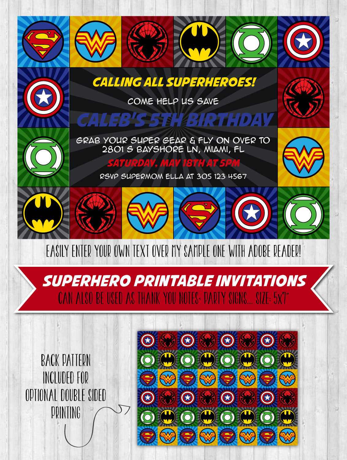 superhero party invitation wonderbash