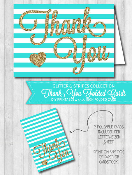 Thank You Card Aqua Stripes & Gold Glitter