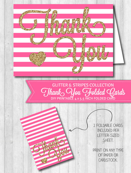 Thank You Card Bright Pink Stripes & Gold Glitter