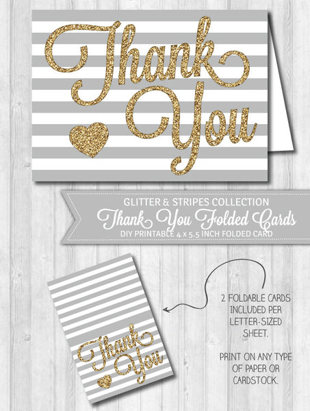 Thank You Card Gray Stripes & Gold Glitter