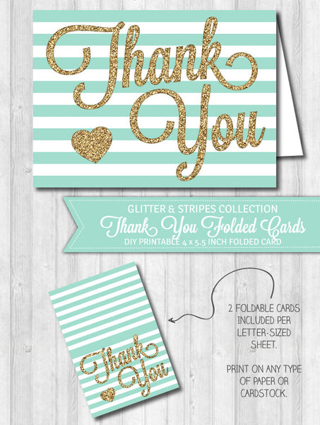 Thank You Card Mint Stripes & Gold Glitter