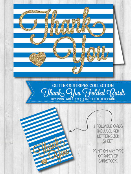 Thank You Card Navy Blue Stripes & Gold Glitter