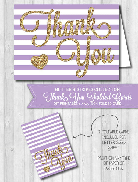 Thank You Card Purple Stripes & Gold Glitter