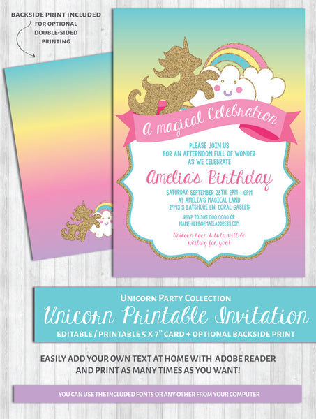 Unicorn Invitations Rainbow Birthday Party Baby Shower WonderBash