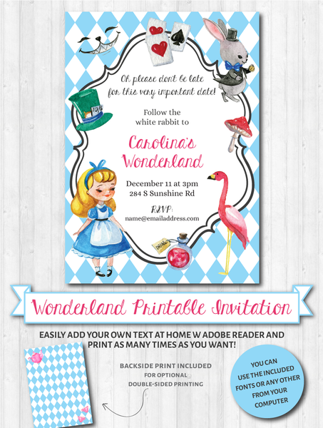 Wonderland Invitations (Blonde)