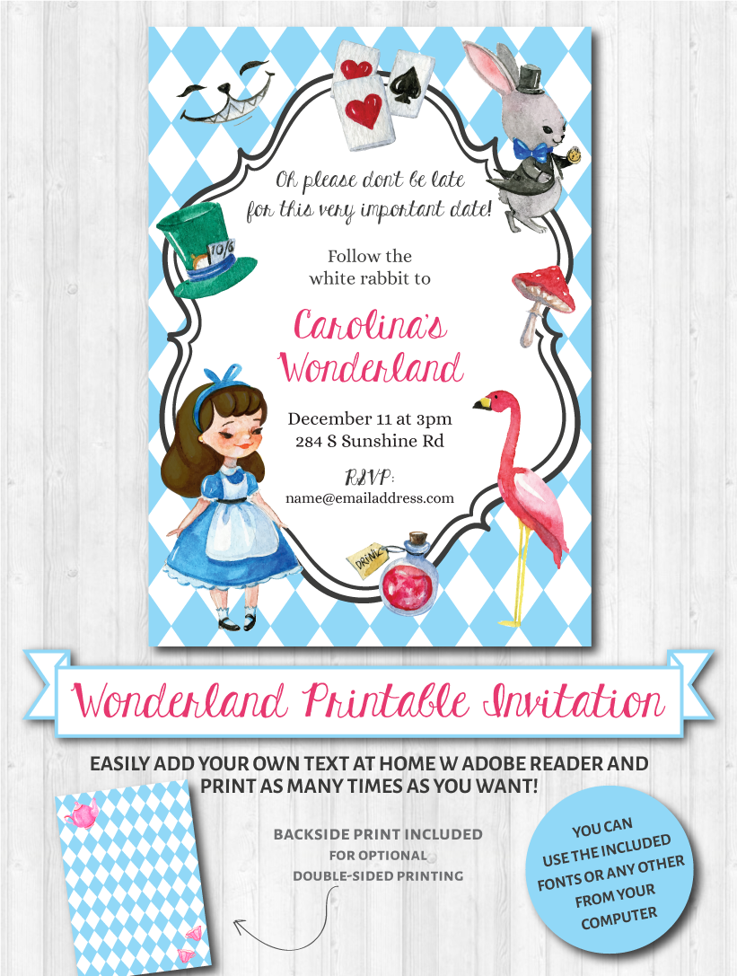 alice in wonderland invitations party baby shower birthday