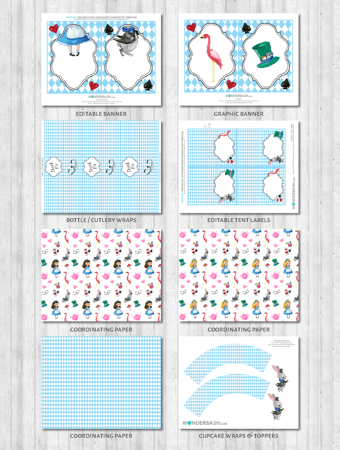 Wonderland party decor pack printable Cupcake wraps print