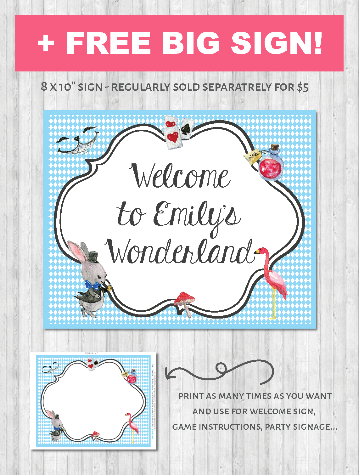 Alice in Wonderland Poster party decor pack printable