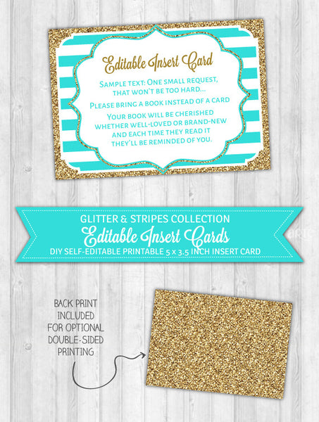 Editable Insert Card Aqua Stripes & Gold Glitter